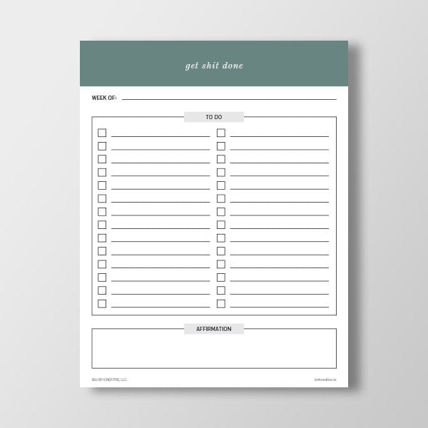 Get Shit Done To Do List - Free Printable