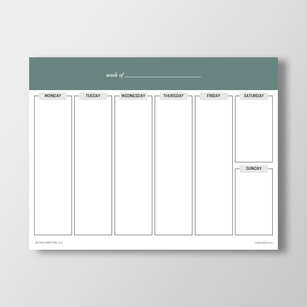 Blank Weekly Planner Printable Worksheet