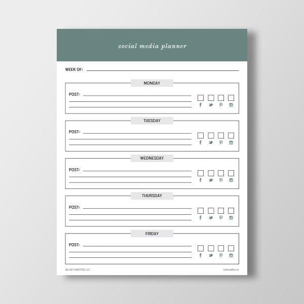 Blank Social Media Planner Printable